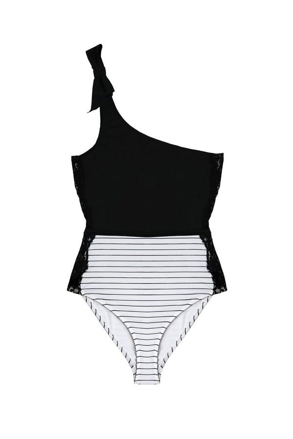 Fleur du Mal One Shoulder Swimsuit With Lace