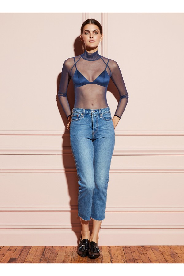 63eb85a2cb03 Sheer Tulle Turtleneck Bodysuit With Velvet Trim by Fleur du Mal...