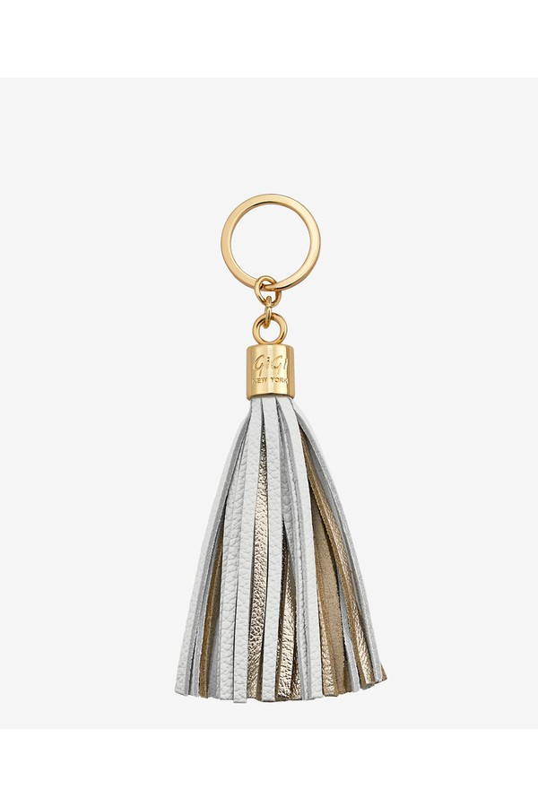 Gigi New York Tassel Key Chain In Chiffon And Gold Chiffon and gold s6BuAHMwYi
