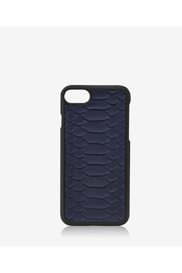 Iphone 7 Hard-Shell Case In Navy Embossed Python by Gigi New York