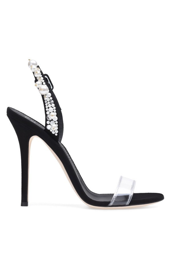Giuseppe Zanotti Plexi and suede sandal with crystals ELIZA SBso1x
