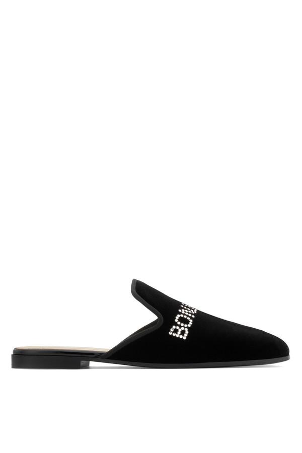 Giuseppe Zanotti Velvet flat slipper with 'Bonjour Nuit' motif BONJOUR NUIT C2Wcd6cZlj