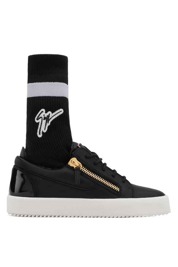Giuseppe Zanotti Calfskin leather low-top sneaker with high sock GAIL PLUS zVt9dl1V