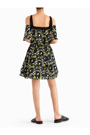614e88d819ed Grey By Jason Wu Shadow Flower Print Off-The-Shoulder Dress With Ruffles