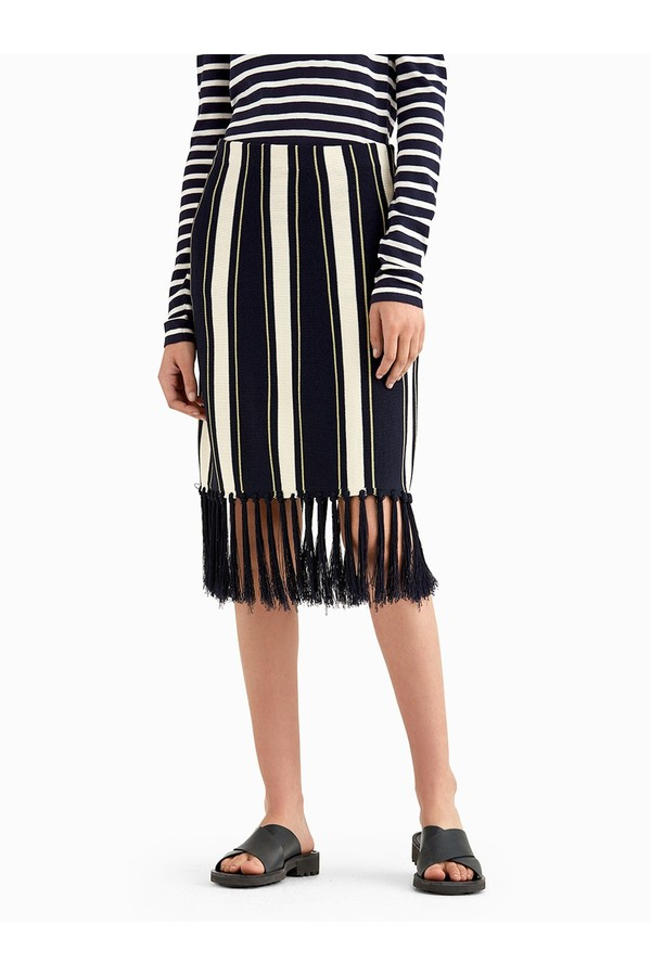 9a87c7d58b6b Stripe Knit Skirt With Fringe Details by Grey By Jason Wu at...