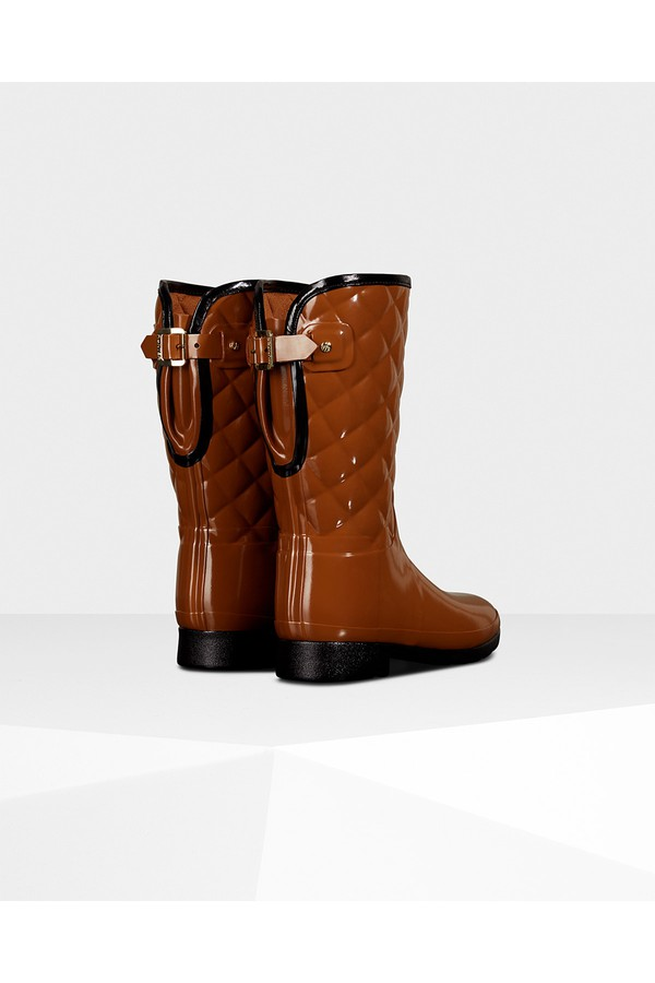 7d1e1f5f2 Women's Refined Adjustable Short Quilted Gloss Rain Boots by...