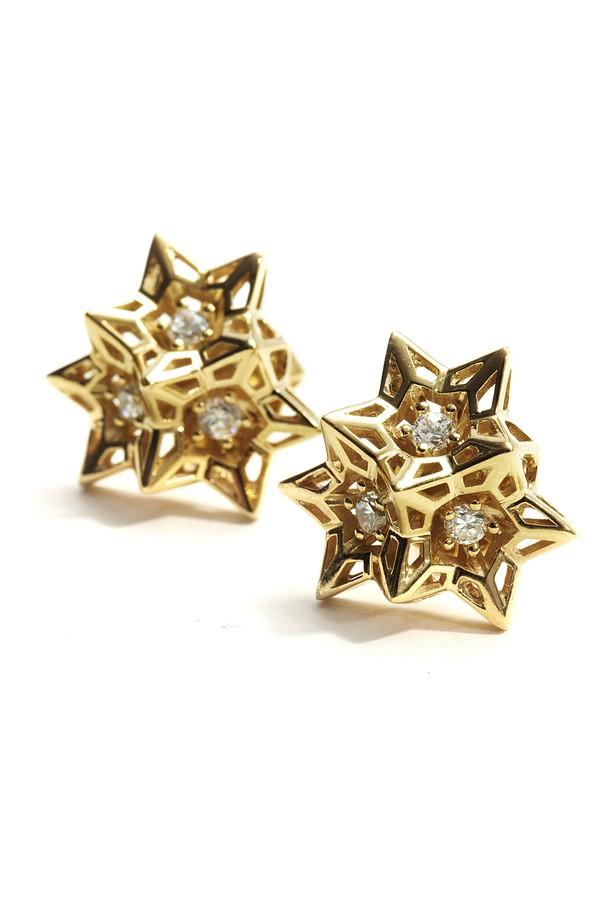 John Brevard Stellated Diamond Gold Dangle Earring Xg3vC