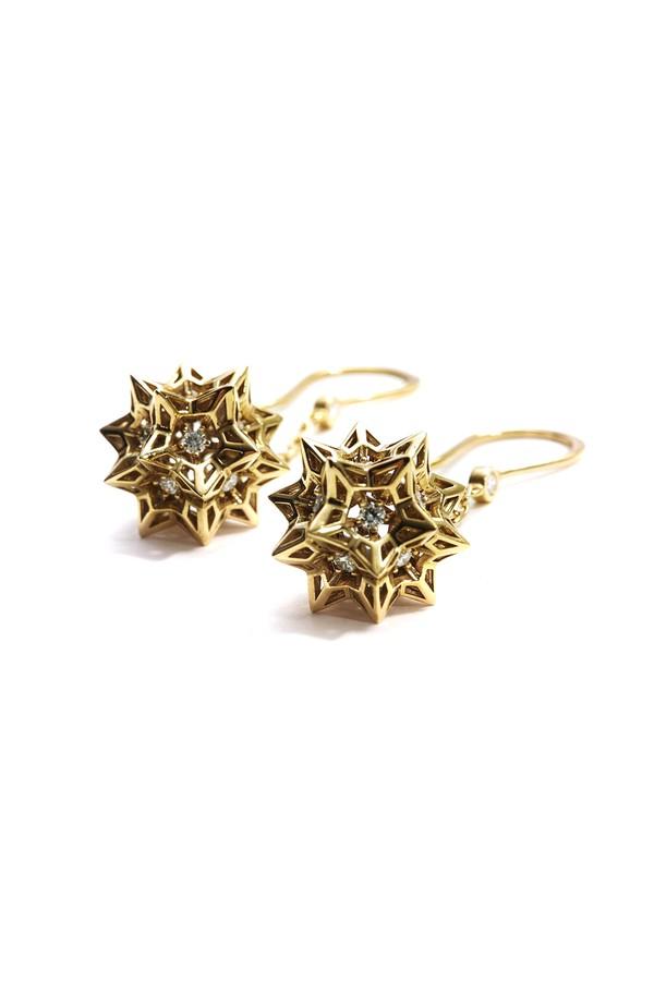 John Brevard Helix Frame Diamond Gold Dangle Earrings 4AtLYRCgoW