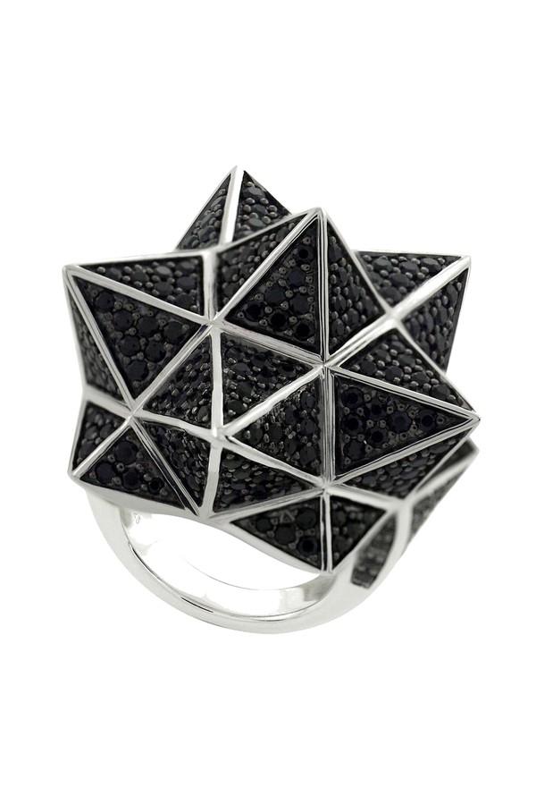 John Brevard Tetra Full Pave Blue Sapphire Silver Ring UV2f1