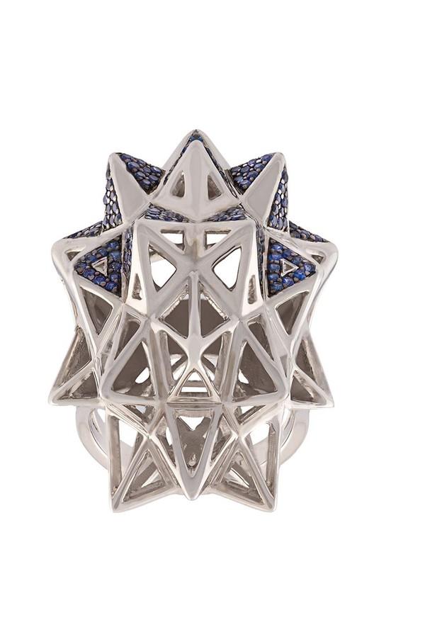 John Brevard Black Stellated Star Diamond Gold Ring VU3X6