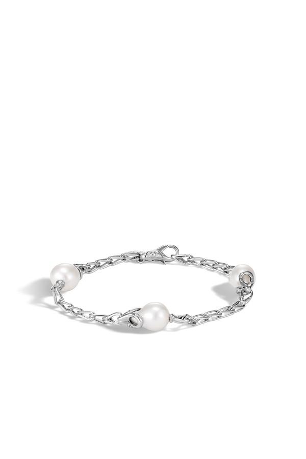 John Hardy Naga Station Bracelet With Pearl, White Moonstone Xs White fresh water pearl