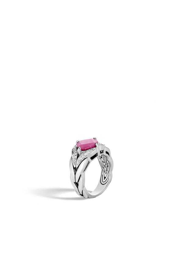 John Hardy Modern Chain Silver Diamond Pave Magic Cut Ring with Pink Sheen Sapphire, Size 8