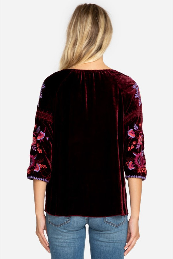 fecfb21e59a Marcella Velvet Peasant Blouse-Plus Size by Johnny Was at ORCHARD MILE