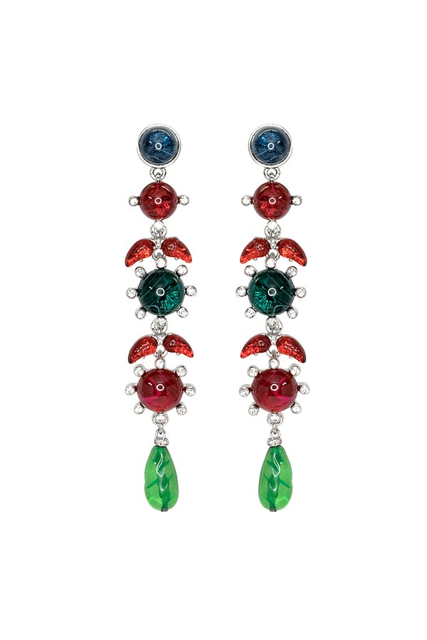 Kenneth Jay Lane Sapphire, Ruby Emerald Drop Post Earrings Ruby/emerald