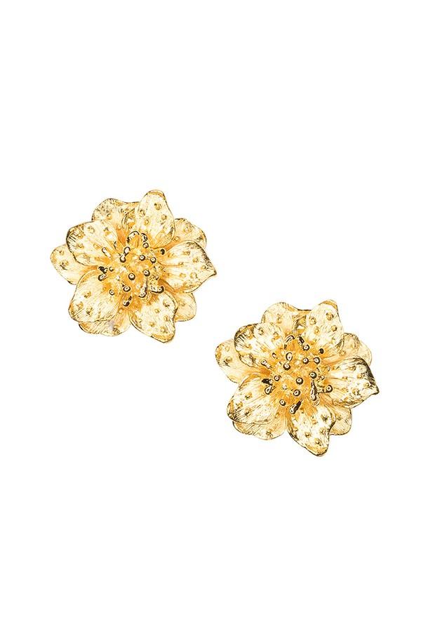 Kenneth Jay Lane Satin Gold Dogwood Flower Clip Earring