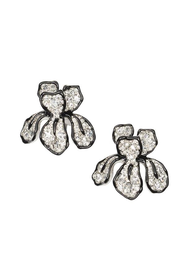 Crystal Flower Clip Earrings