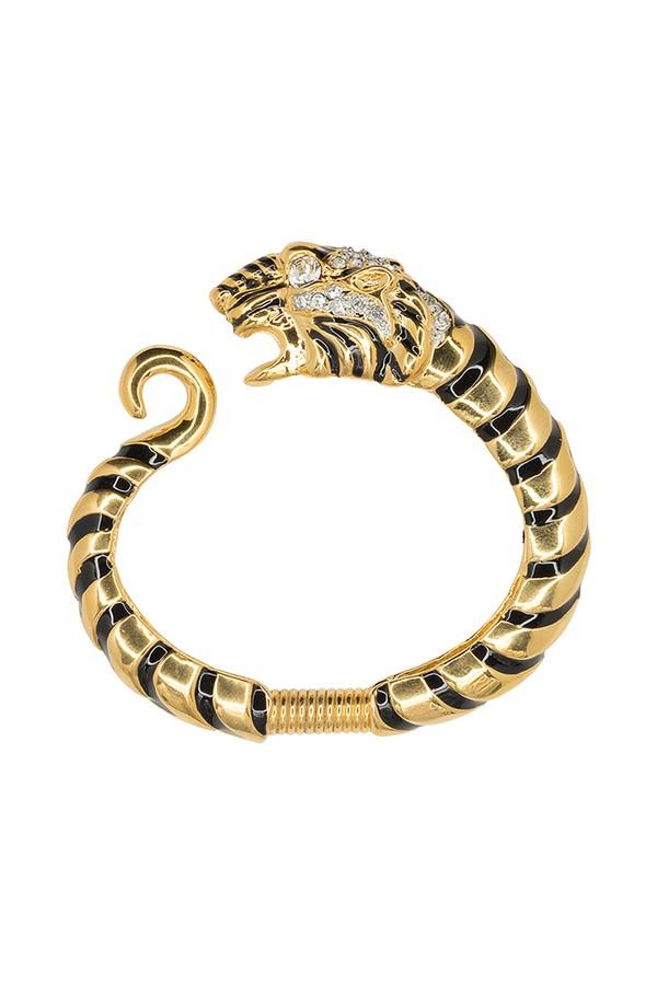 Kenneth Jay Lane Black Crystal Tiger Bracelet Gold/black ywn7j2BO