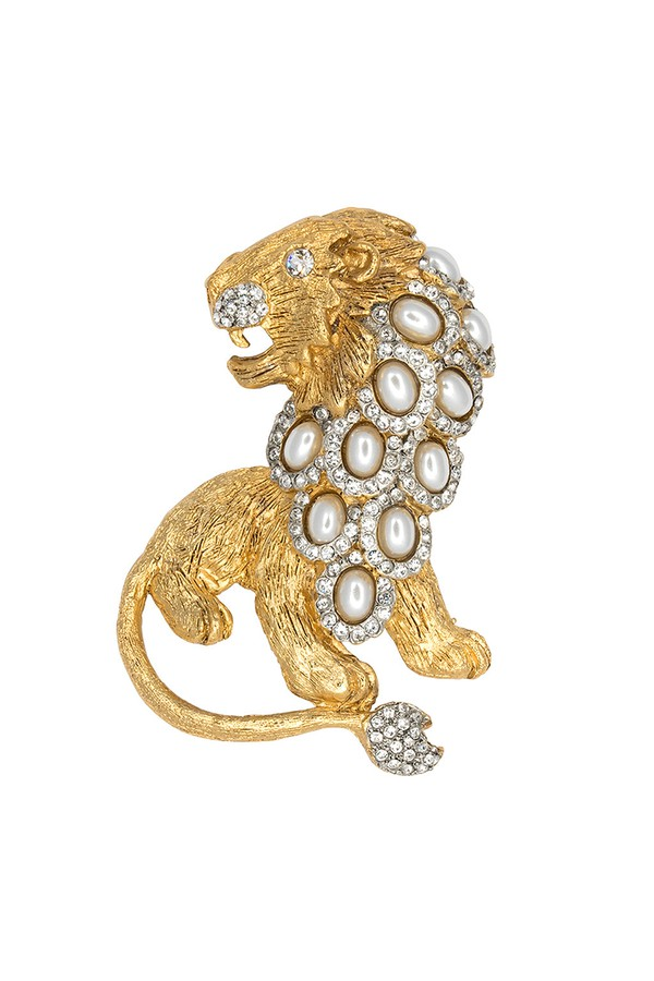 Kenneth Jay Lane Green Gold Lion Pin Gold/green chrysophase mcSMHMfzm8