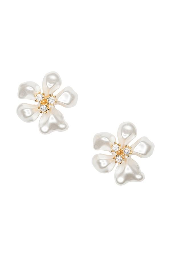 White Pearl Flower Clip Earrings By Kenneth Jay Lane