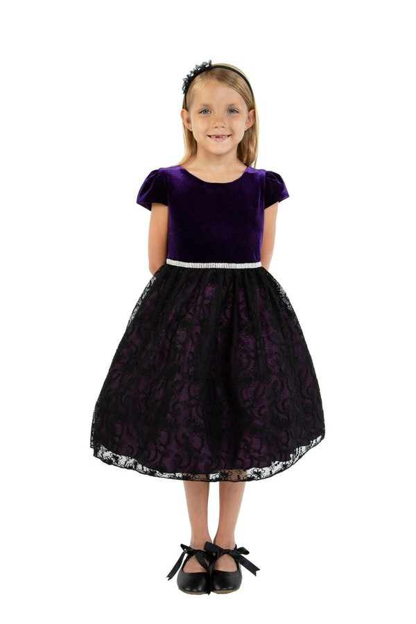 c960fa300011c Velvet Black Lace Dress Purple by Kid's Dream