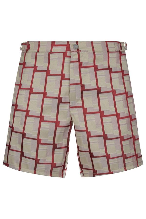 27b42b7feb Gentlemen's Club Bordeaux Red Cubic Jacquard Swim Shorts by La...