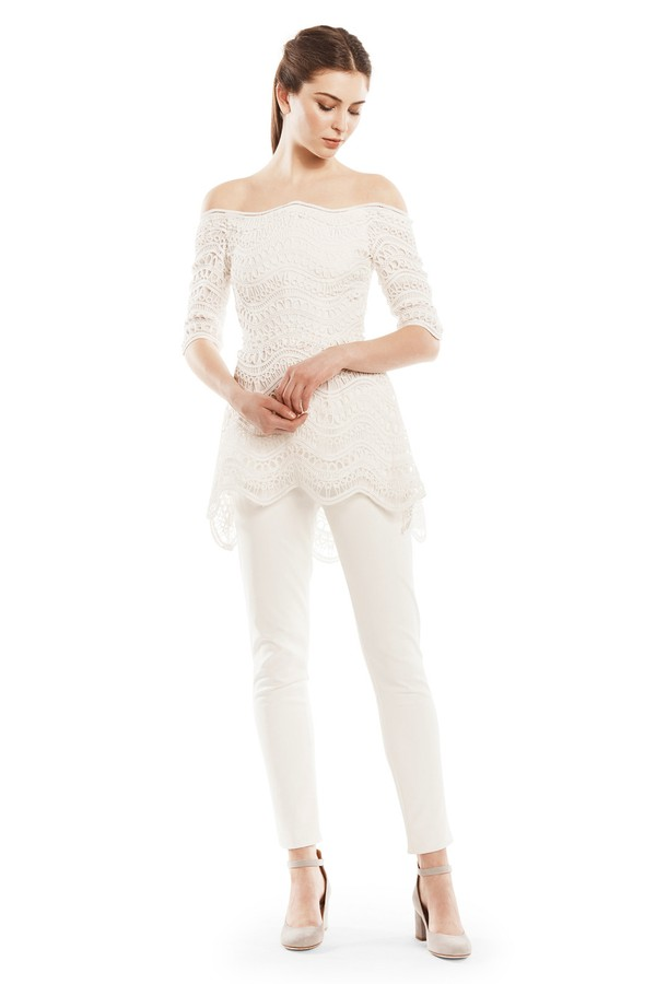 Lela Rose Woman Off-the-shoulder Guipure Lace Top White Size 8 Lela Rose Free Shipping Amazing Price Outlet With Credit Card 2018 Newest For Sale Best Seller Cheap Price Discount Best Wholesale 6gMWBOb