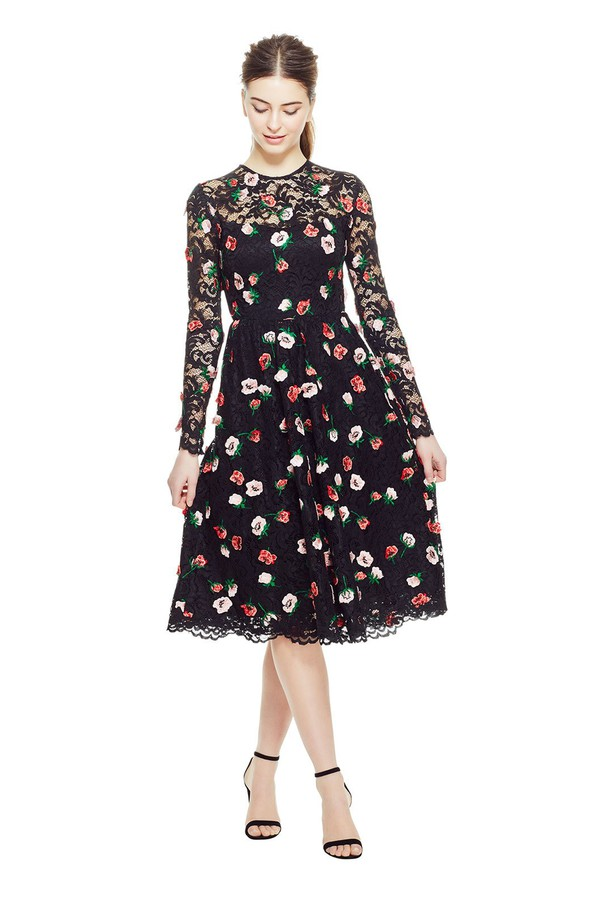 1dbffaae9a6 Floral Embroidered Lace Long Sleeve Full Skirt Dress by Lela Rose...