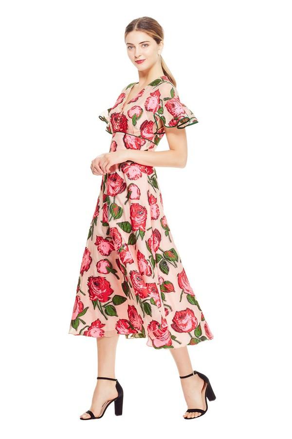 db59bb49045 Rose Fil Coupé Flutter Sleeve Dress by Lela Rose at ORCHARD MILE
