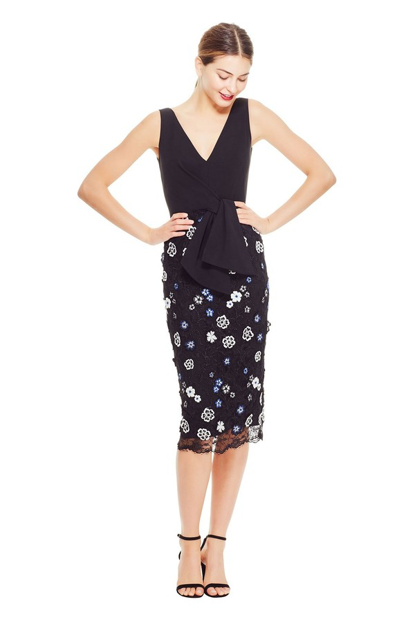7e27a30dff3 3D Embroidered Lace Tie Front Dress by Lela Rose at ORCHARD MILE