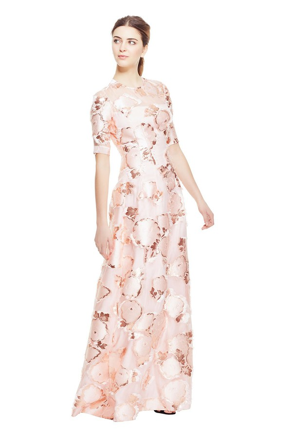 620627108f3 Floral Fringe Fil Coupé Holly Elbow Sleeve Gown by Lela Rose at...