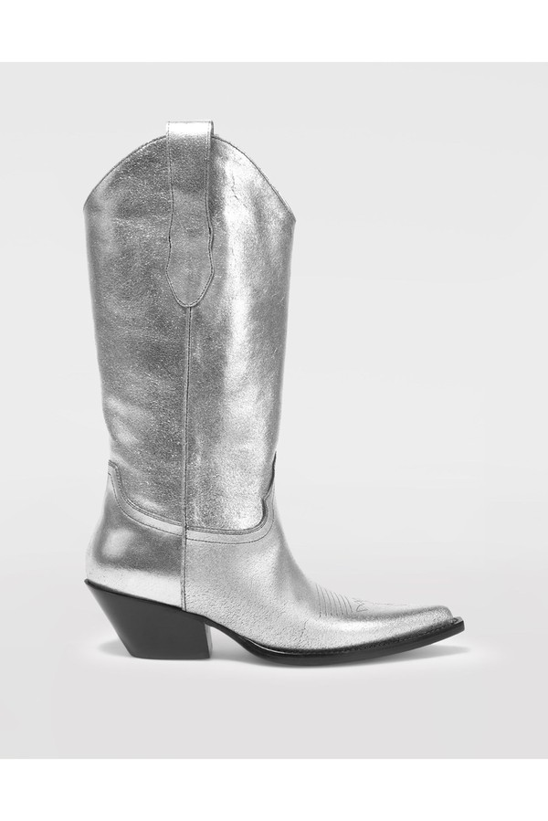 27e5ce7155b High Silver Cowboy Boots by Maison Margiela at ORCHARD MILE