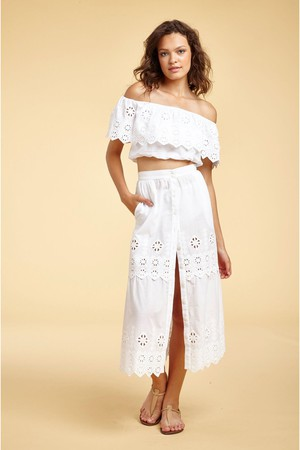3ae10075d86 Miguelina Carolina Broderie Anglaise Midi Skirt - Pure White Low in Stock