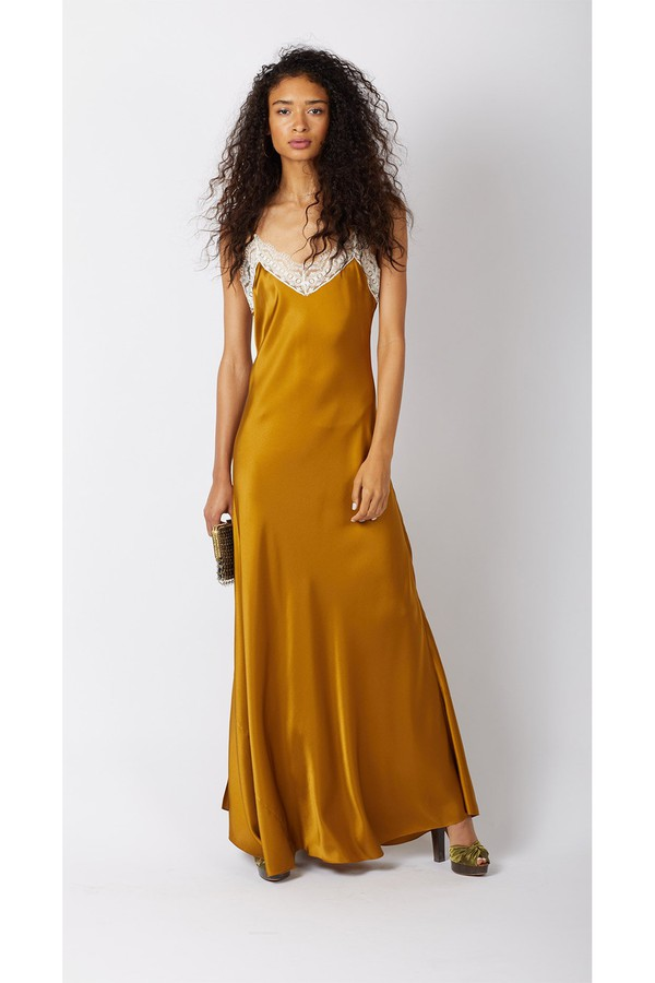 23bf3e567c715 Jacquelyn Antique Gold Silk Slip Dress by Miguelina at ORCHARD MILE