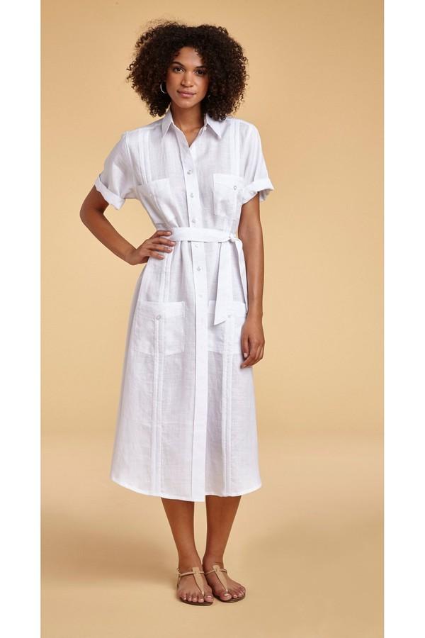 32db387de1d7 Guayabera Soft Linen Shirt-Dress by Miguelina at ORCHARD MILE