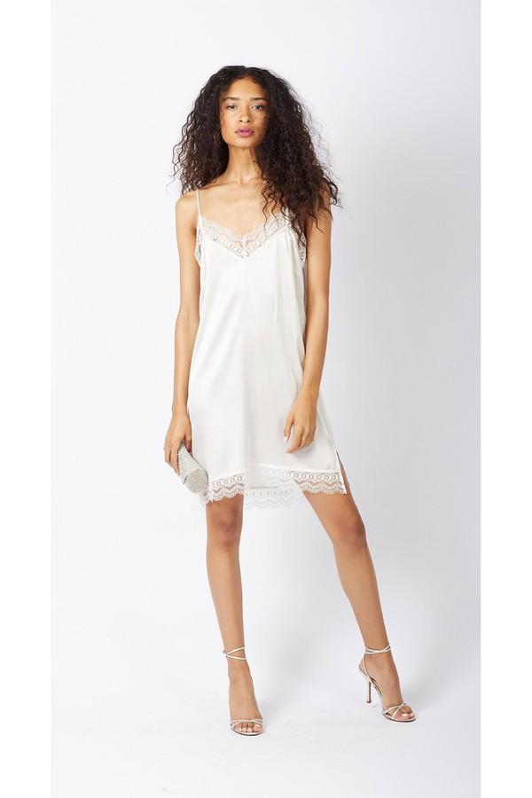 Charlotte Scalloped Lace Silk Slip Dress Ivory
