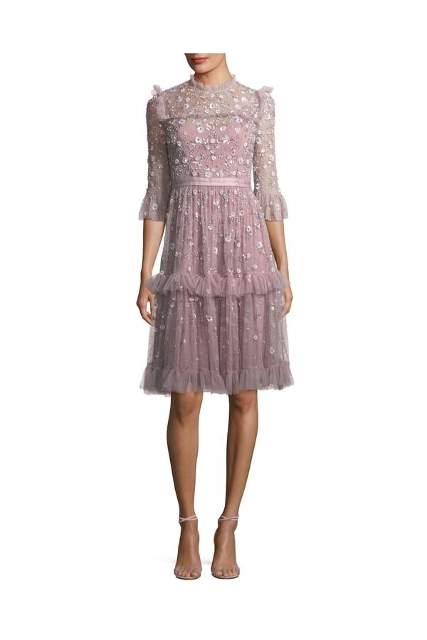 Twilight High-Neck 3/4 Sleeve Embellished Cocktail Dress by Needle...