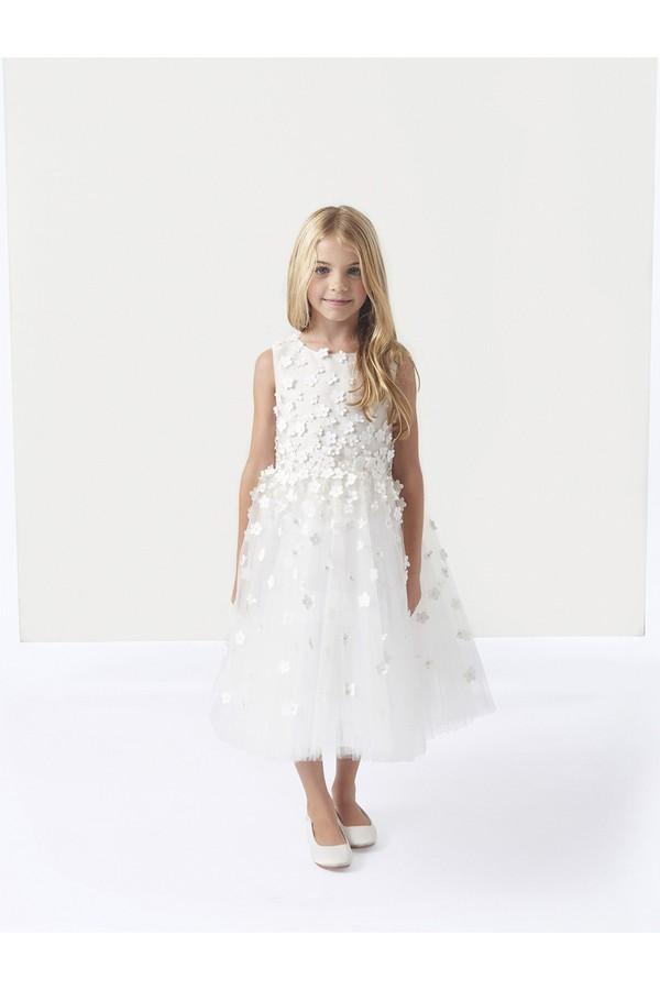 126ba95d239 Organza Sunburst Embroidery Flower Girl Dress by Oscar de la Renta...