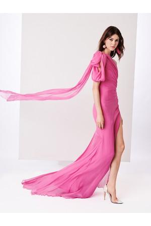 Oscar de la Renta Spinel One-Shoulder Draped Crinkle Silk-Chiffon Gown