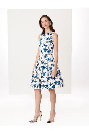 Oscar De La A Bright Blue Scribble Flowers Stretch Brocade Dress
