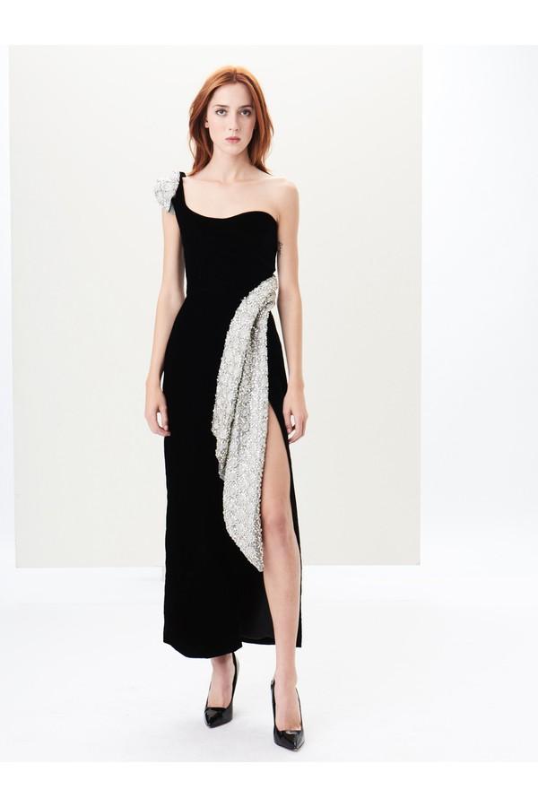 One-Shoulder Embroidered Satin And Velvet Gown by Oscar de la...