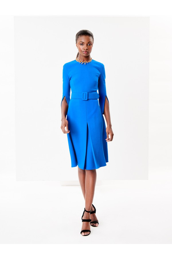 a44dd6efe7 Stretch-Wool Crepe Split-Sleeve Dress by Oscar de la Renta at...
