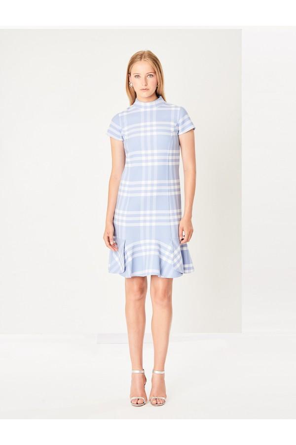 d029f3218e Large Check Double-Face Wool Shift Dress by Oscar de la Renta at...