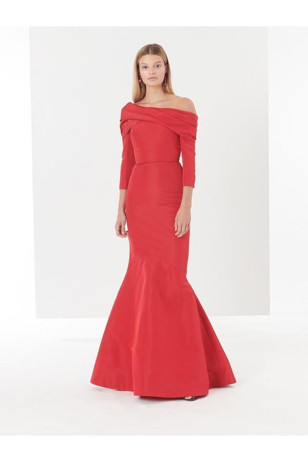 151149f350e Off-The-Shoulder Draped Silk-Faille Gown by Oscar de la Renta at...
