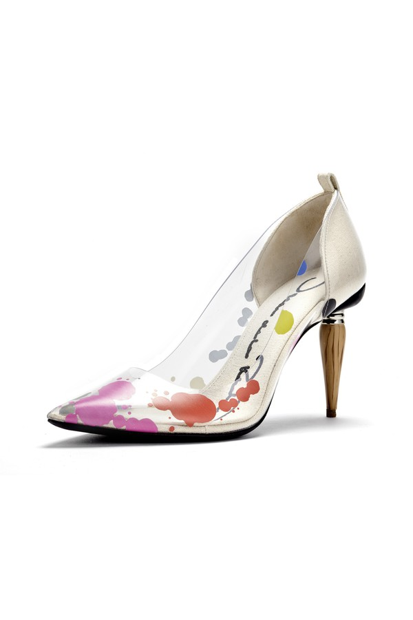07b3ed302028 Paint Splatter Pvc Mariacarla Pumps by Oscar de la Renta at...