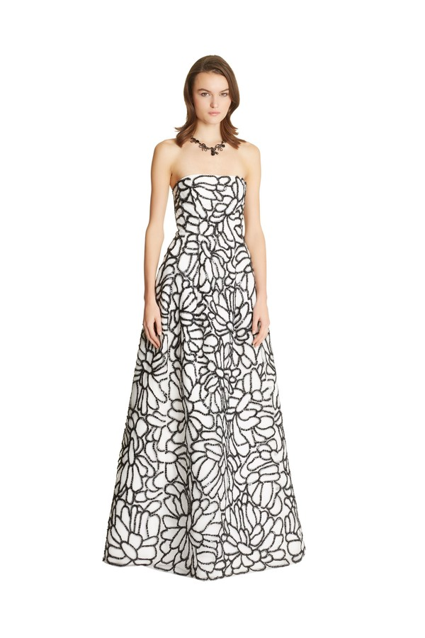 Floral Embroidered Tulle & Silk Faille Gown by Oscar de la Renta...