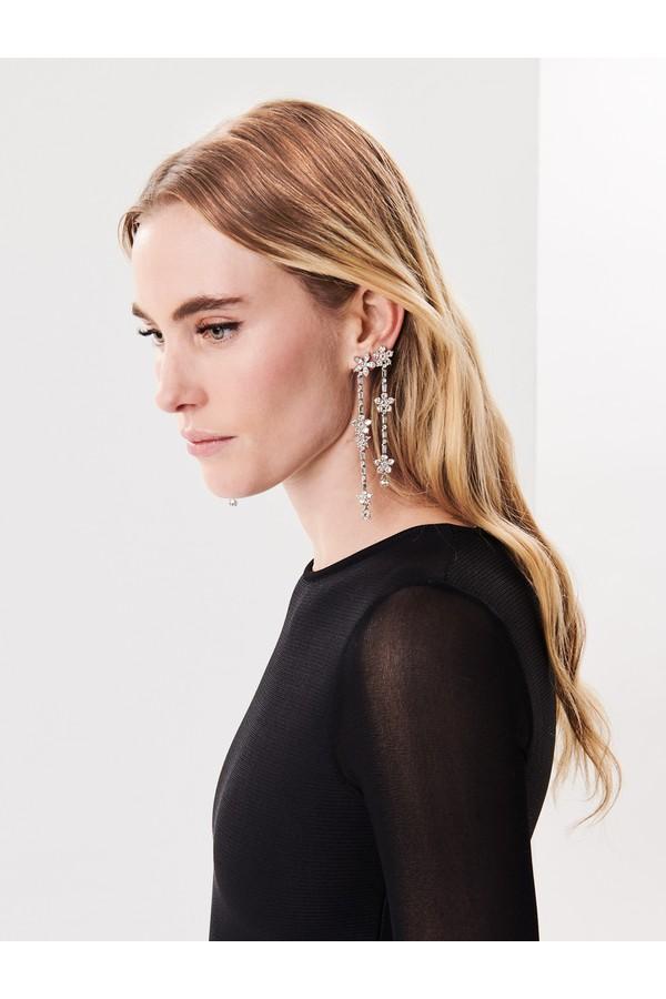 Oscar De La Renta Gold Floral Crystal Drop Earrings Ant. silver 2bRRV0