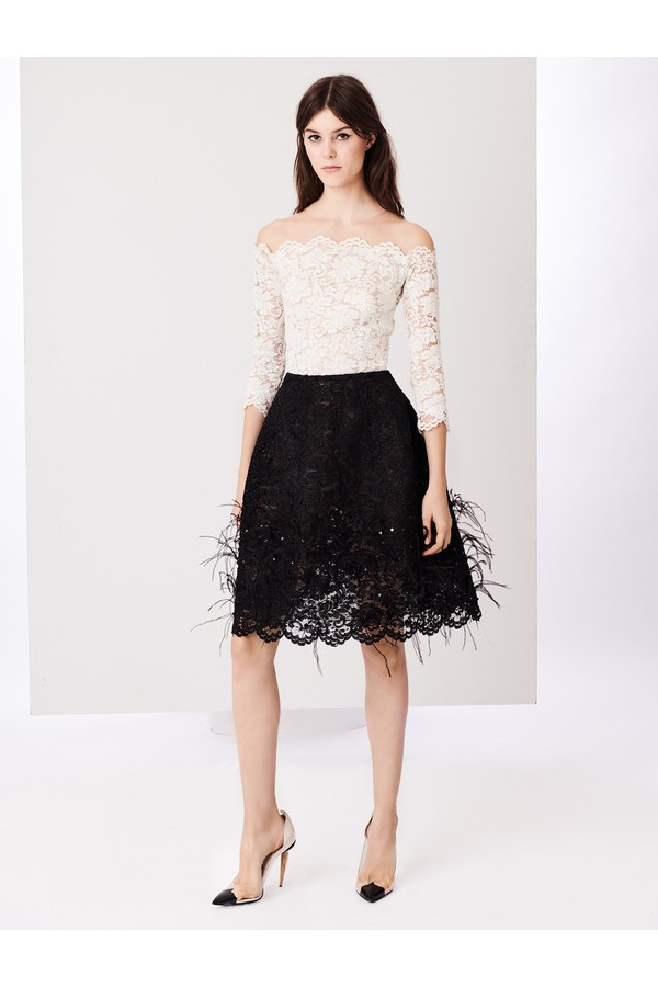 Feather-Embroidered Fern Corded Lace Cocktail Dress by Oscar de la...
