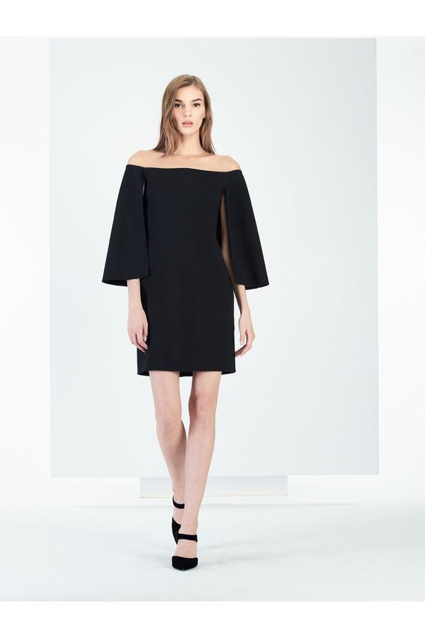 ee4a6773de Illusion-Neck Stretch-Wool Crepe Cape Dress by Oscar de la Renta...