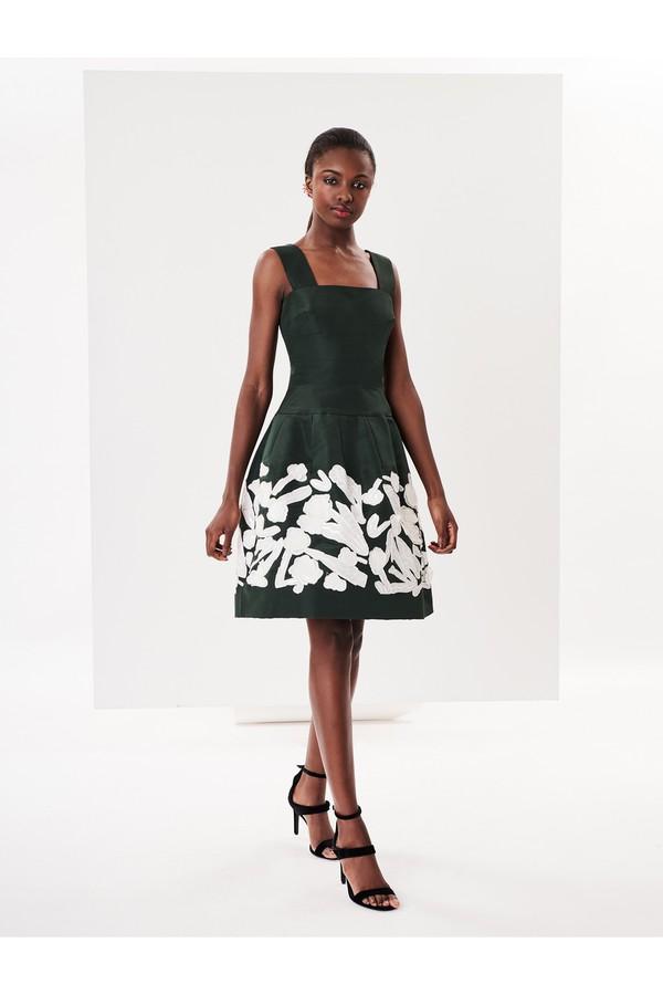 7d2b56623e Floral Embroidered Silk-Faille Cocktail Dress by Oscar de la Renta...