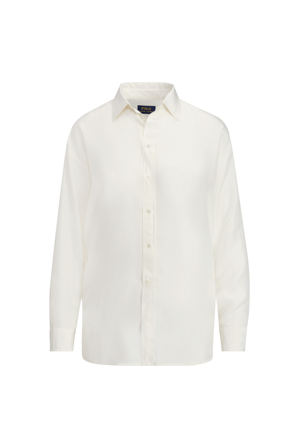 3cbafd5a6 Fringe-Trim Silk Button-Down by Polo Ralph Lauren at ORCHARD MILE